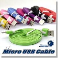 Câble USB 1M 3FT V8 Flat Noodle USB Câble de transfert de données Sync Data Line Cordé Pour Samsung Galaxy S5 S4 Note 4 3 HTC LG