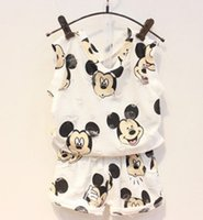 Cotton Cartoon Mikey Mouse Printed Bore Kid Girls' 2PCS...