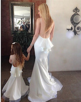 2015 Pure White Mother Daughter Matching Dresses High Neck B...