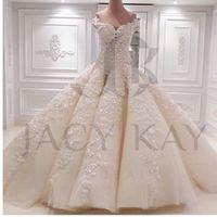 Великолепные мантии шарика Pearls Свадебные платья 2016 Свадебные платья Принцесса Весна Милая Новый дизайн Свадебные платья выполненная на заказ