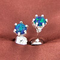 Party Jewelry- - 2pairs Lot Lucky Shine Round Blue Fire Opal C...