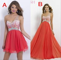 Cheap One- Shoulder Crystal A Line Homecoming Dresses Long Sh...