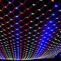 LED 1.5M * 1.5M 100 светодиодов Веб-Net Light Фея Рождество Дом и сад Свет занавеса Чистые огни Чистые Лампы 110V 220V супер яркий свет шнура Net