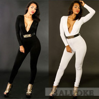 Bodycon Jumpsuits Rompers Deep V- Neck Long Sleeve Bodysuit P...