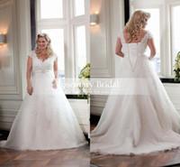Elegant Plus size 2016 A line wedding dresses white satin la...