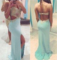 2015 Sexy Mermaid Evening Dresses Sky Blue Applique Beaded B...