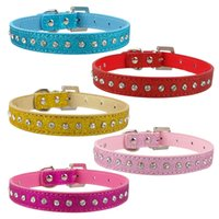 Rhinestone Diamante PU Leather Puppy Collar XS S M For Small...