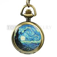 Livraison gratuite! Nuit étoilée Van Gogh LPW78 de montre de poche de collier de 2pcs / LOT