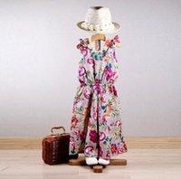 2015 Korean summer kids girls flower floral vintage jumpsuit...