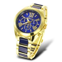 Geneva Stainless Steel Roman Numerals Wrist Watch women casu...