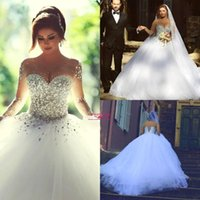 White Crystal Pearls Sheer Tulle Ball Gown Wedding Dresses 2...