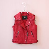 Fashion Big Kids Girls Pu Leather Waistcoats Baby Girl Fall ...