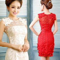 Cheap 2015 Sheath Column Party Dresses with Lace Applique Je...