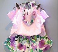 2015 Summer Kids Girls Fashion Sets Clothing Cotton Off Shou...