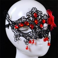 Free Shipping Sexy Black Lace Women Party Masks With Ribbons...
