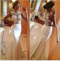 2015 Hot Bateau Informal Mermaid Wedding Dresses Sheer Lace ...