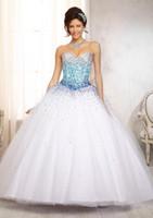White Bling Bling Quinceanera Dresses Sweetheart Ball Gown B...