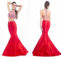 Charming Taffeta Mermaid Prom Dresses 2015 Sexy Crew Neck Ba...