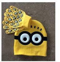 Kids Clothes Minions Cartoon Knitting Hats Scarf Set Spiderm...