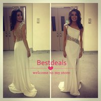 Crystal Prom Dresses 2015 White One Shoulder Sheer Side- slit...