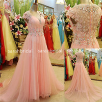 2015 Blush Pink Tulle Long Prom Dresses For Arabic Formal Oc...