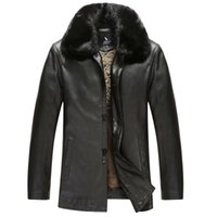 New Style Warm Fur collar Leather Jackets for men Coat Sheep...