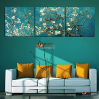 Большие современные картины Ван Гог картина маслом Репродукции 3 шт Аннотация холсте Миндаль цветок Картина Современный Декор стены