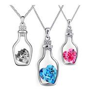 Nouvelle arrivée Autriche Cristal Souhaitant Bouteille Collier avec pendentif Bijoux Designer pour les femmes, avec collier en argent 925