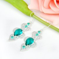 Party Jewelry- - 2pairs Lot Lucky Shine Unique Drop Green Quar...