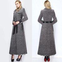 2 015 Зимняя Макси Длинные Женщины Пальто нагрудные шеи длинным рукавом Тонкий Обычные пиджаки шерстяные шерстяные Теплый Длинные зимнее пальто OXLW025