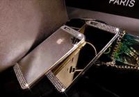 Note5 de diamant de Bling Electroplate Acrylique Miroir souple TPU Housse en Bumper pour iPhone 5 5S 6 Plus Samsung Galaxy S6 bord A5 A7 S5 Remarque