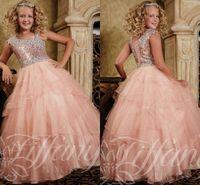 crystal ball gown flower girls dresses 2015 asymmetrical str...