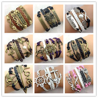 130pcs 138 Designs New Leather Bracelet Antique Cross Anchor...