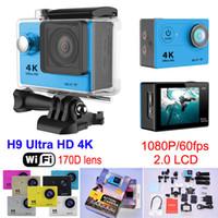 Ультра HD 4K WIFI Действие камеры 1080P / 60fps Дайвинг 30M Водонепроницаемая камера спорта 170 объектива 2.0 LCD Helmet Cam Video HDMI выход