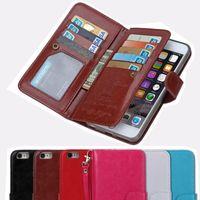 Pour iphone 7 6 6S 5 Plus Multifonctionnel Flip Portefeuille Couverture Housse en cuir avec magnétique détachable 2 en 1 9 Slot cartes 7Plus