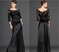 2015 Black Long Sleeve Lace Evening Dresses Sexy Off Shoulde...