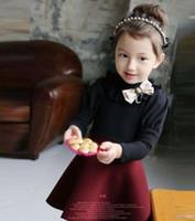 Korean Children Girls Puff Long Sleeve Ribbon Bow Lace Colla...