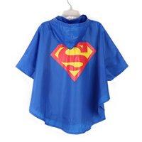superman batman spiderman superhero kids waterproof Rain Coa...