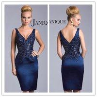 Janique Dresses Navy Mother Dresses 2015 V Neck Knee Length ...