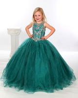 Girls Pageant Dresses Size 10 Teal Organza Ball Gowns Beaded...