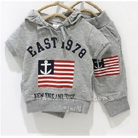 2016 Summer Spring Grey Sailor Flag Boys Hooded Sweatshirts ...