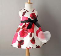 2015 Kids Clothing Girl Vest Dressy Big Rose Print Bowknot B...
