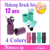 Cylinder Makeup Brushes Sets 12 Pcs Set Kit Beautiful Profes...