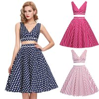 BP Chic Two- Piece Sleeveless Deep V- Neck Retro Vintage Polka...