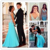 Light Blue Trumpet Evening Gowns with Crystal Rhinestones To...