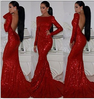 Сексуальная Красная Mermaid платья выпускного вечера 2016 Длинные рукава высокая шея блестящие вечерние платья с блестками
