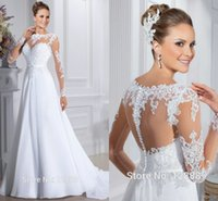 New Arrival Hot Sale Wedding Dresses Covered Button Long Sle...