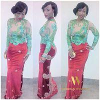 2016 Новое прибытие Appliqued платье выпускного вечера Длинные рукава See Through тафта Нигерийский кружевном платье вечерние платья персонализированного Асо Эби платье