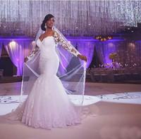 Новый Vestidos Де Noiva Кружева Русалка Свадебные платья 2016 Sheer Длинные рукава молнии с кнопкой Sweep Платья Поезд Люкс