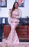 Новое прибытие Sexy Русалка Специальный Платья с длинными рукавами Crew Вырез Нигерийский шнурка вечерние платья 2016 Personalzied платье
